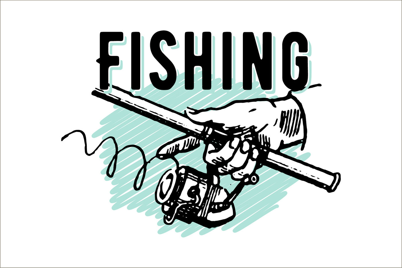 Vintage Hand Drawn Highly Detailed Fishing Reel And Fishes Vector