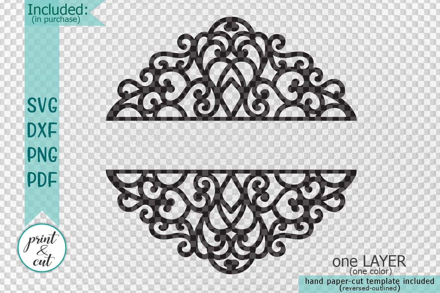 Swirls Split Monogram Mail Box Wedding Family Name Sign Svg Dxf