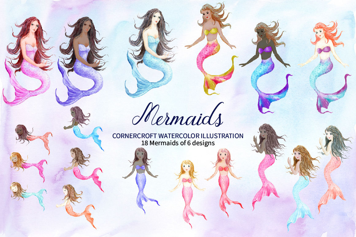 Watercolor Mermaids Illustration By Cornercroft Thehungryjpeg Com