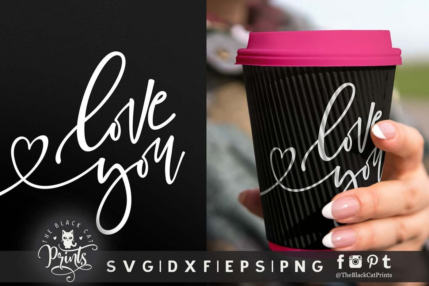 Love You Svg Dxf Eps Png By Theblackcatprints Thehungryjpeg Com