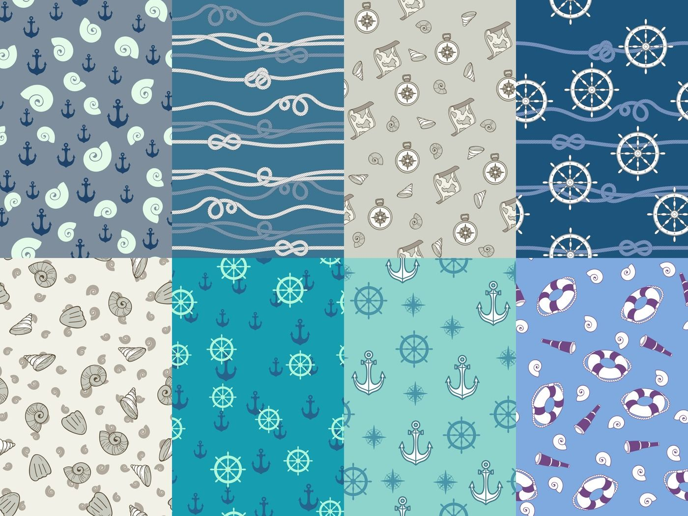 Marine Patterns Navy Anchor Blue Sea Texture And Ocean Nautical