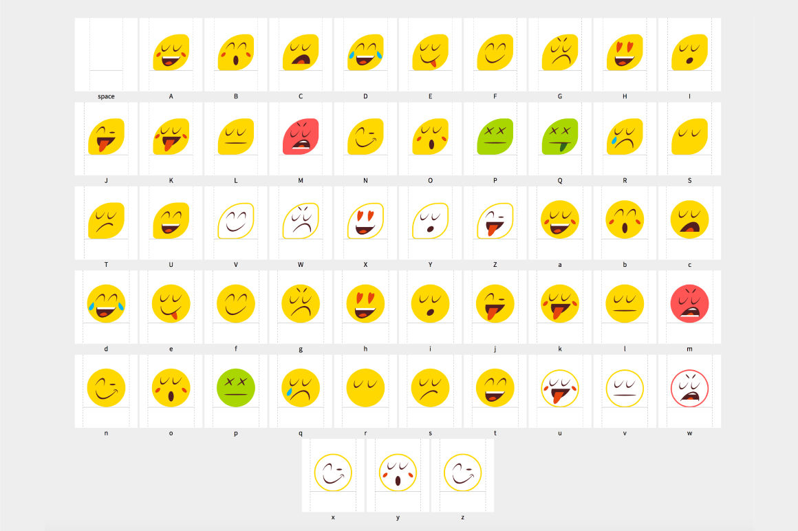 Vintage Emojis Otf Color Font By Ckybe S Store Thehungryjpeg Com