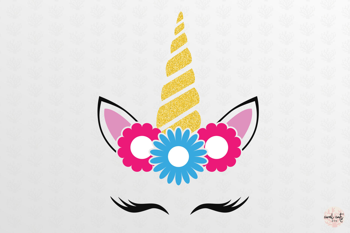 Floral Unicorn Face Unicorn Svg Eps Dxf Png By Coralcuts