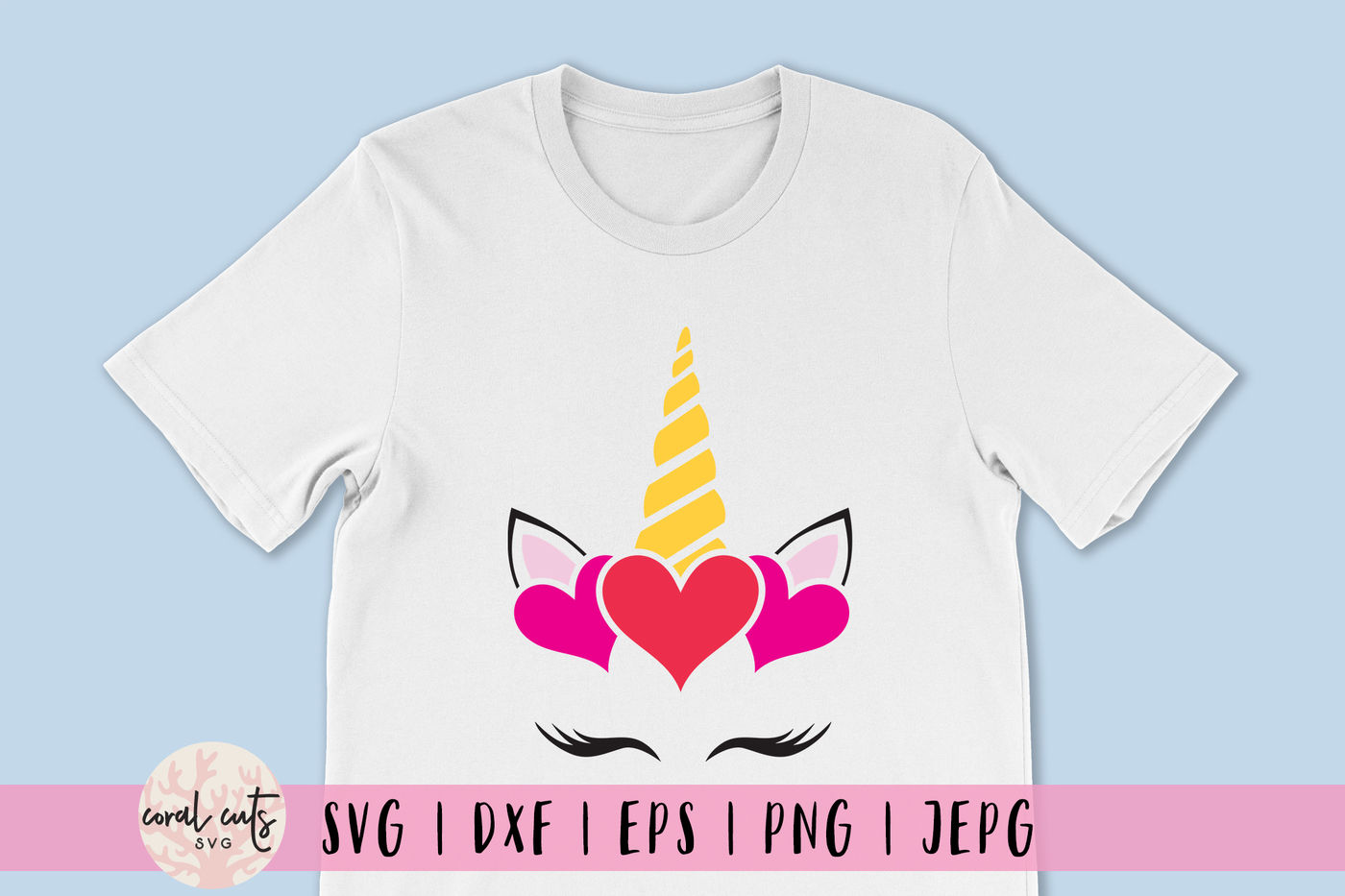 Unicorn Face Valentine Unicorn Svg Eps Dxf Png By Coralcuts