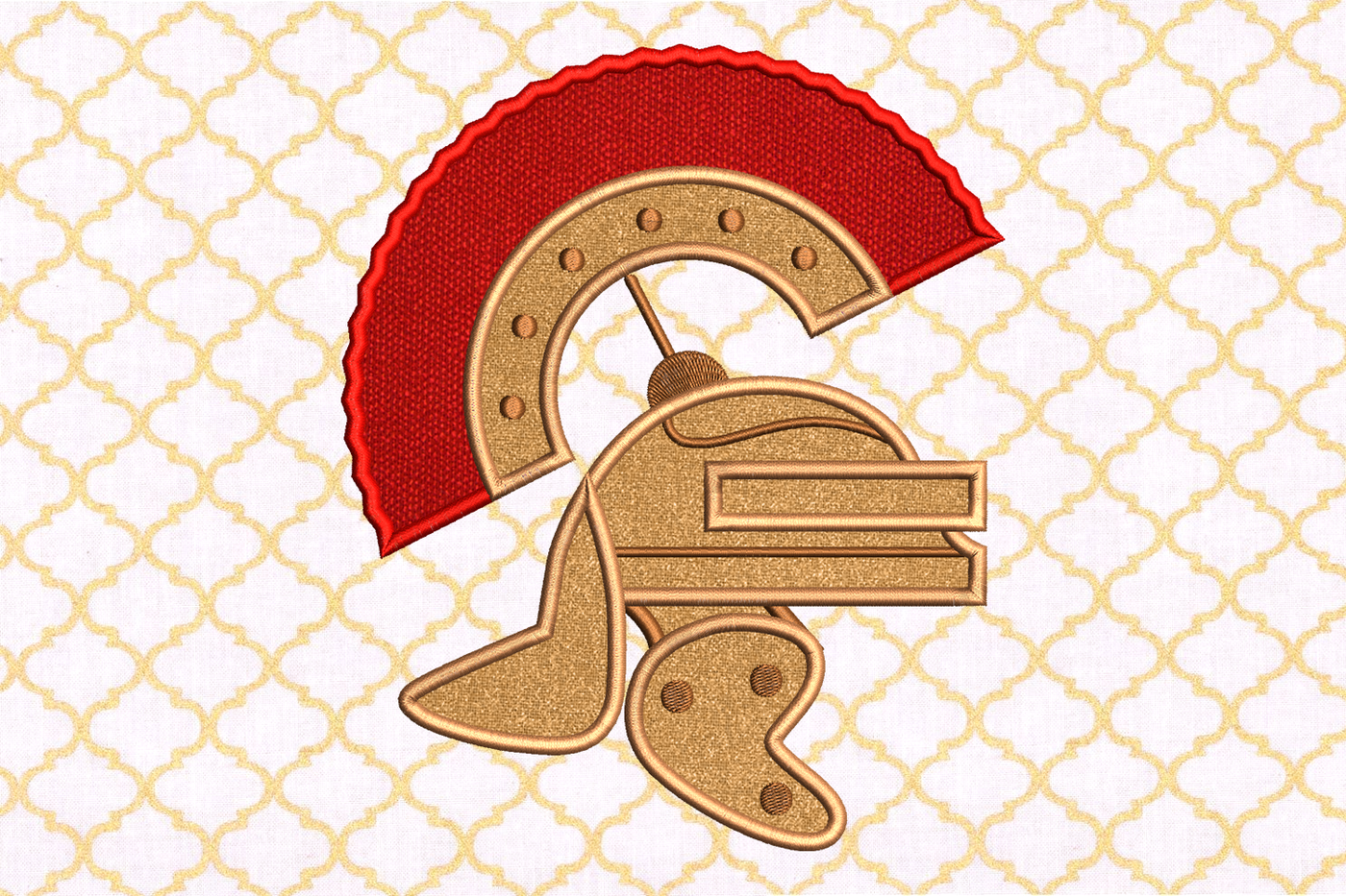 Centurion Helmet Applique Embroidery By Designed By Geeks