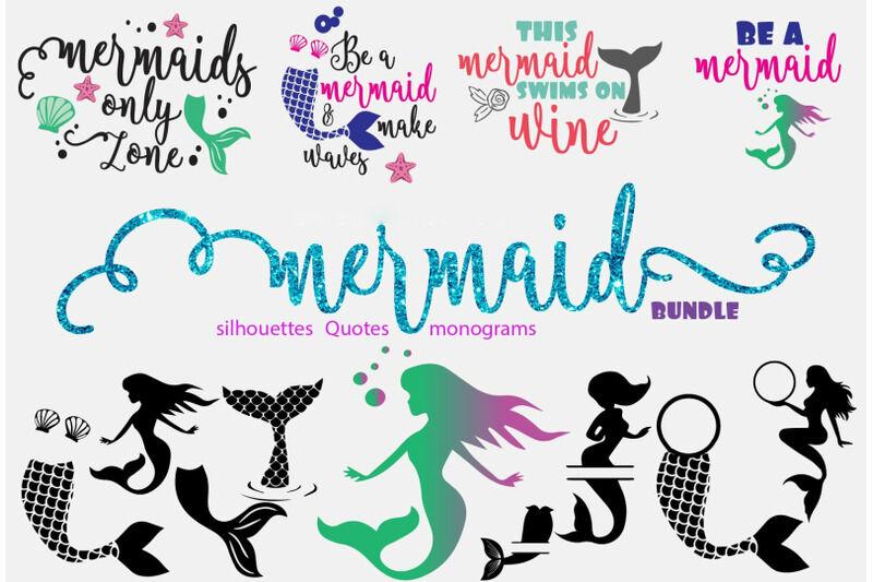 Mermaid quotes/mermaid silhouettes/mermaid monograms By ...