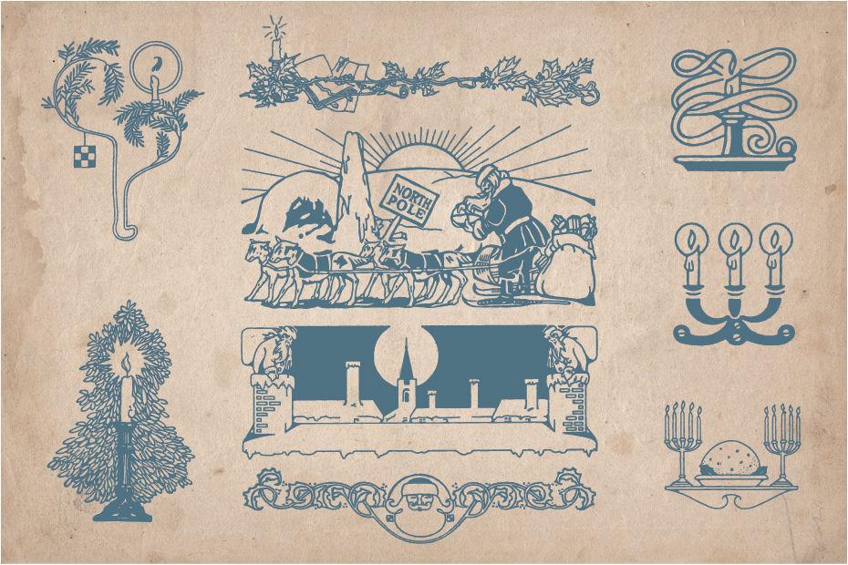 Vintage Christmas Illustrations.Vintage Christmas Illustrations By Mr Vintage