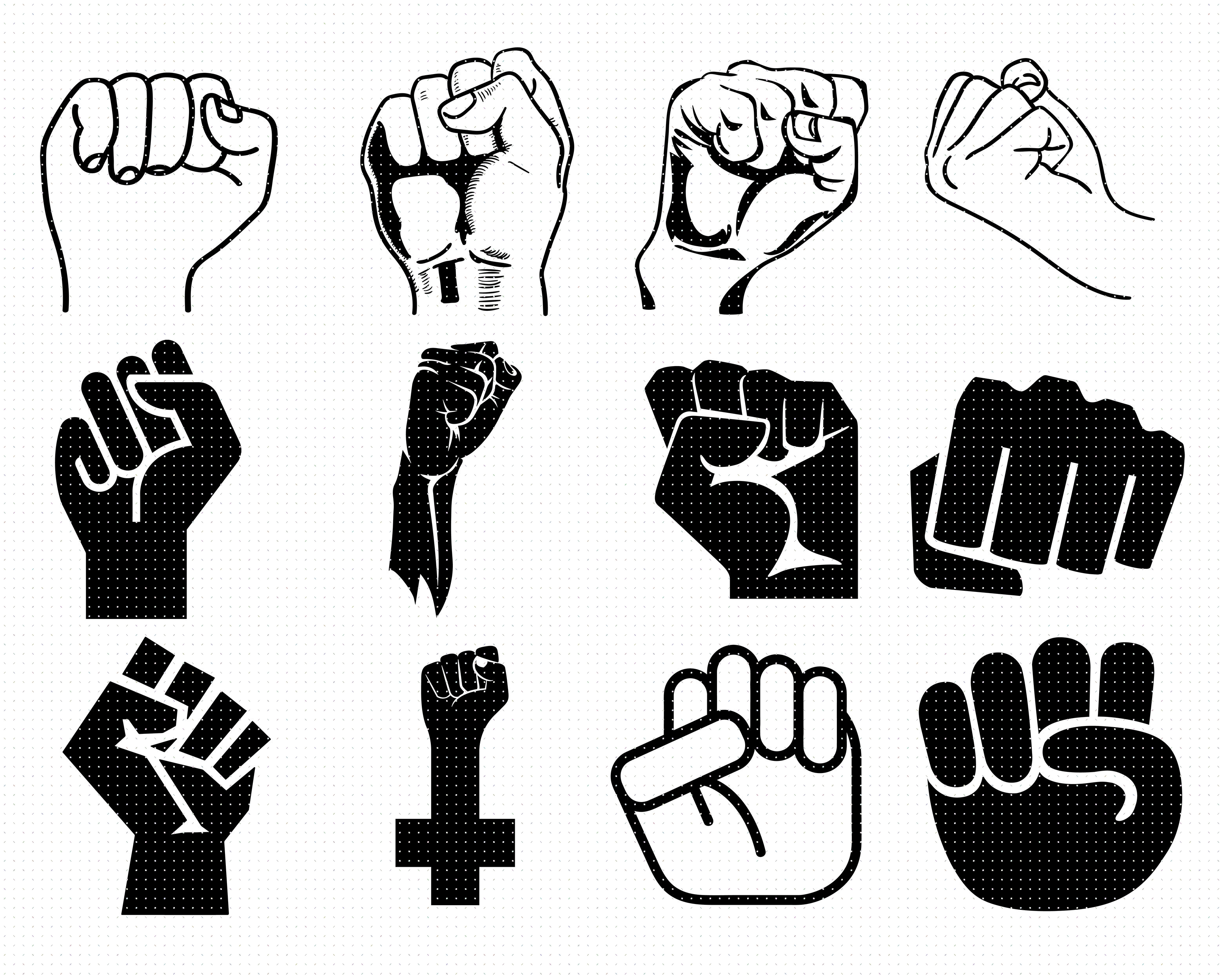 Raised Fist Svg Svg Files Vector Clipart Cricut Download By
