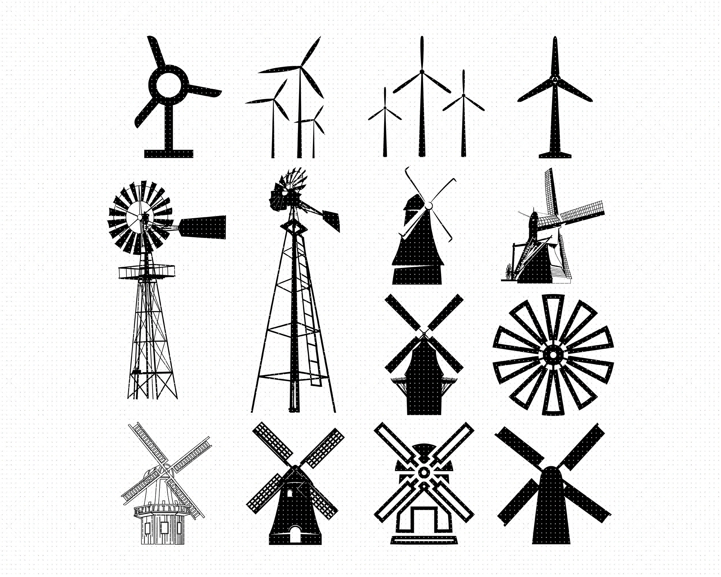 Windmill Svg Svg Files Vector Clipart Cricut Download By