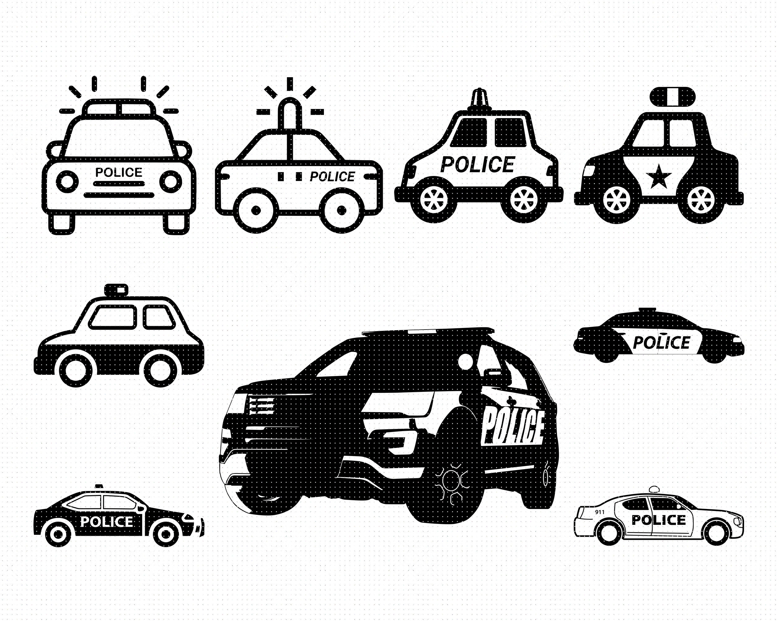 Police Car Svg Svg Files Vector Clipart Cricut Download By