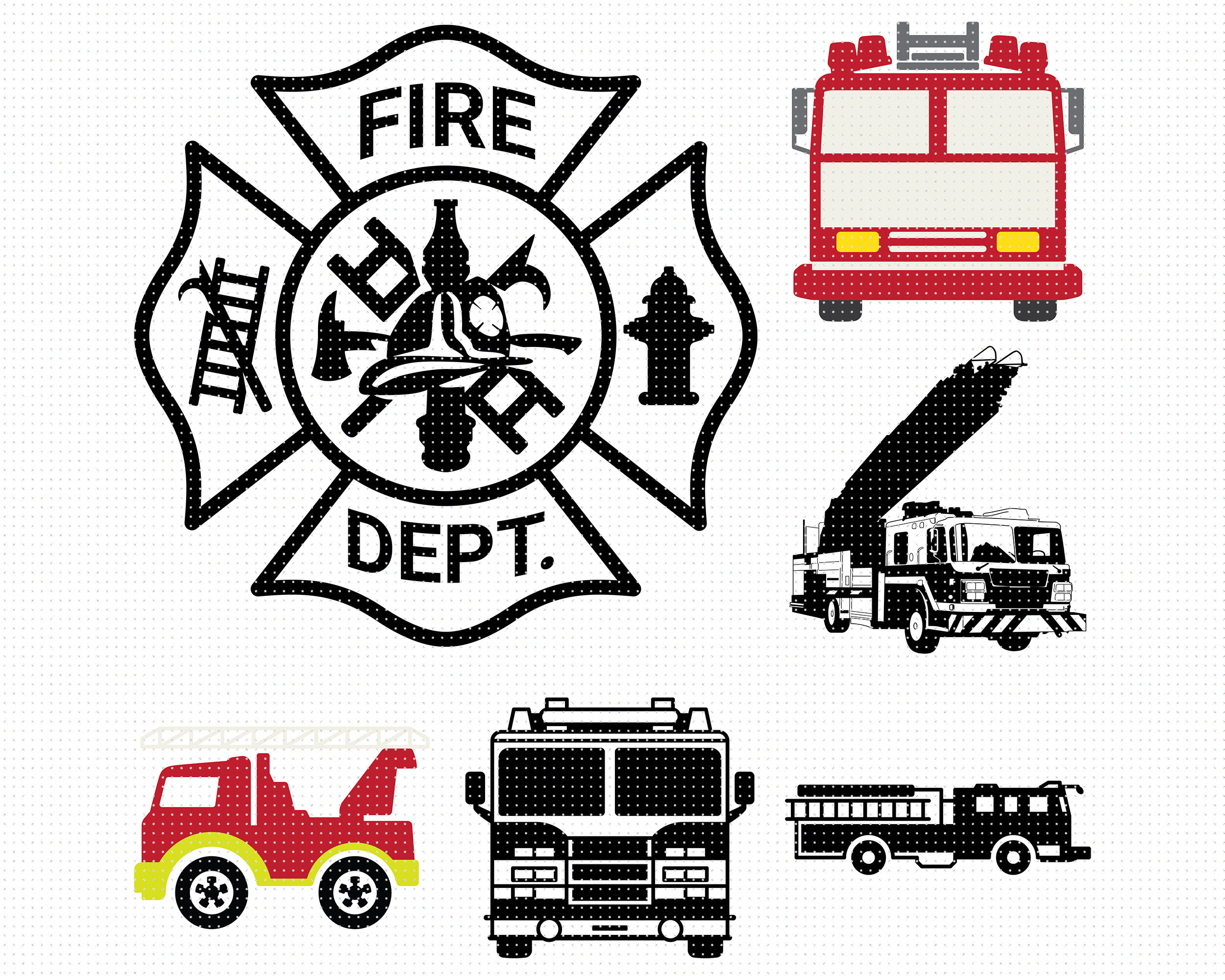 Fire Truck Svg Svg Files Vector Clipart Cricut Download By Crafteroks Thehungryjpeg Com
