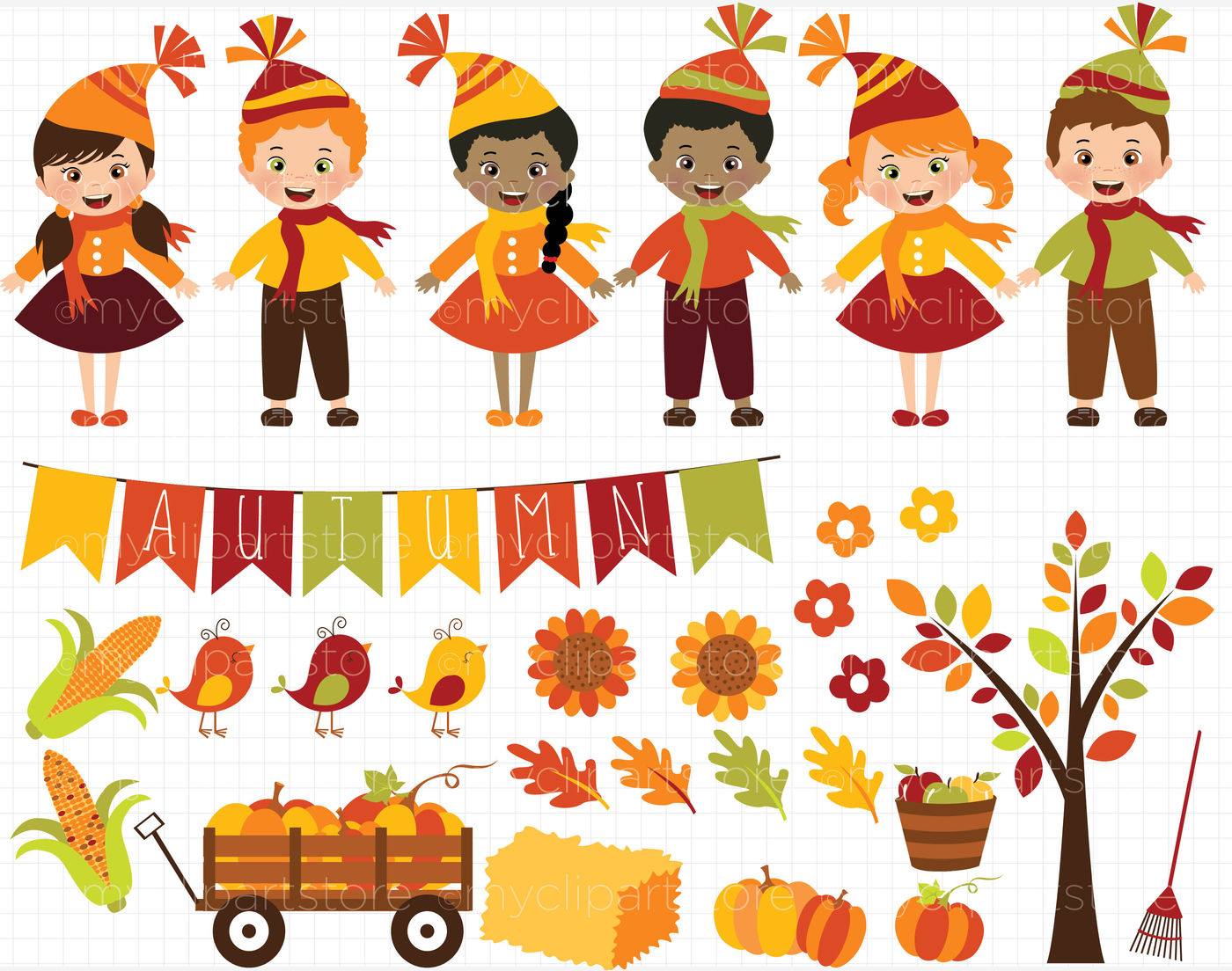 Fall / Autumn / Happy Harvest Kids Vector Clipart By ...