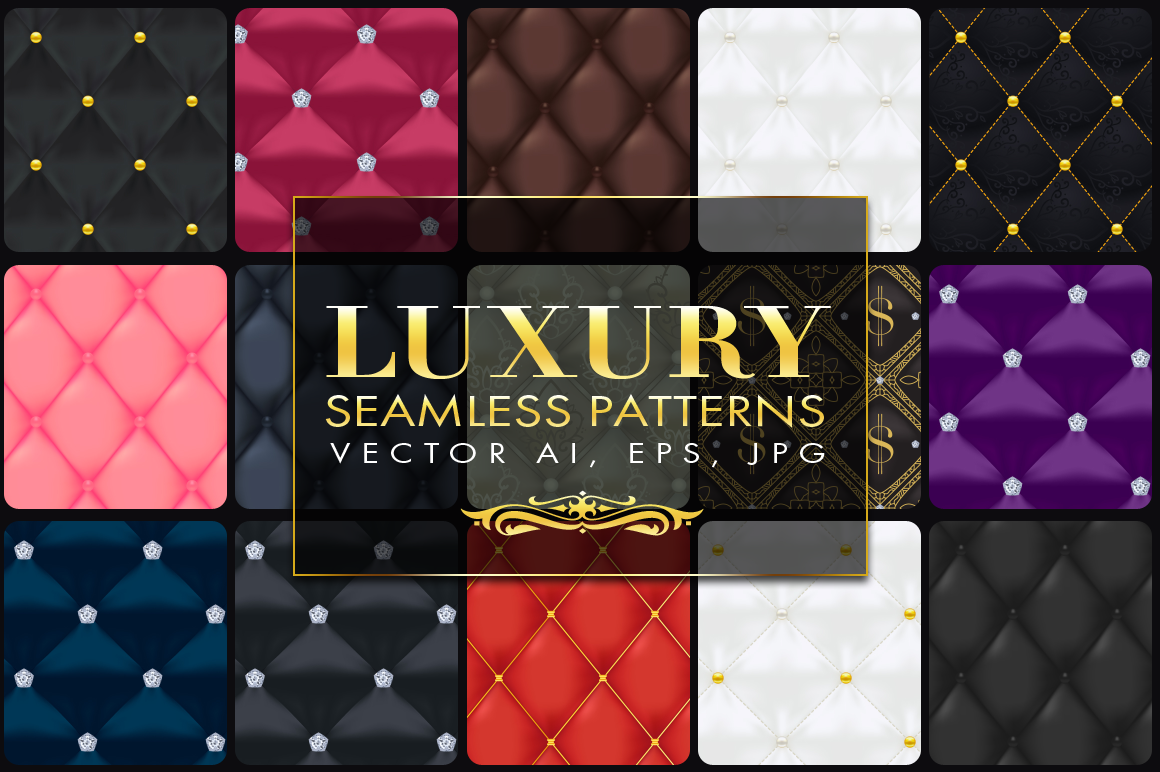 15 Luxury Quilted Seamless Vector Patterns By Pixaroma