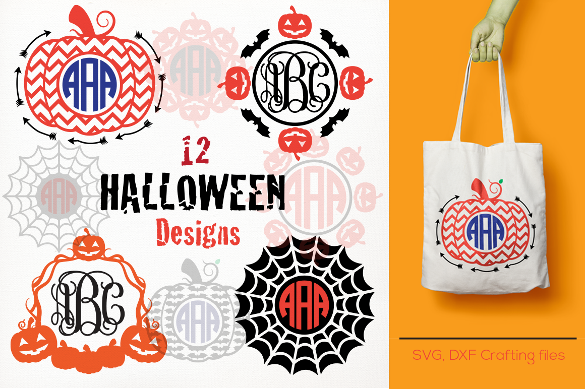 Halloween Pumpkins Monogram Frames Svg Cricut Pumpkin Svg