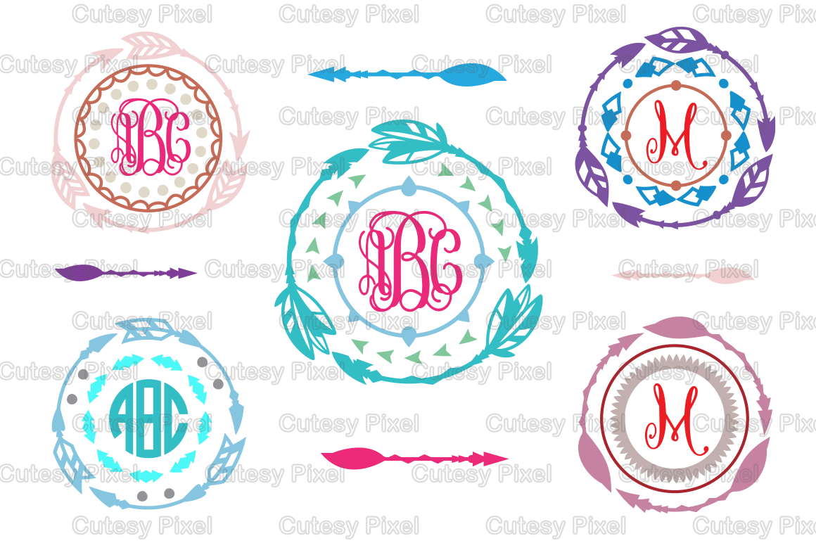 Boho Indian Arrow Monogram Frames Svg Cutting File Arrow Designs