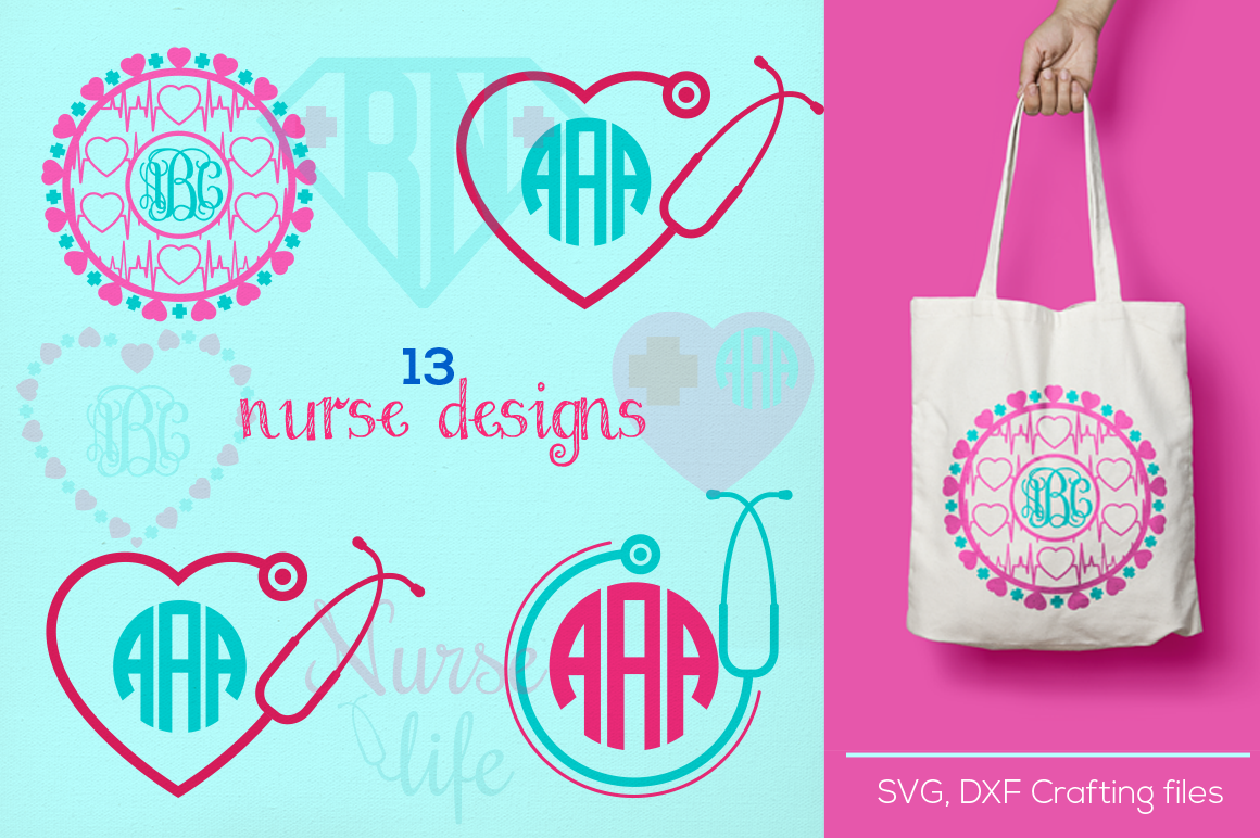 Nurse Monogram Svg Cutting File Nurse Desings Svg Dxf Cricut