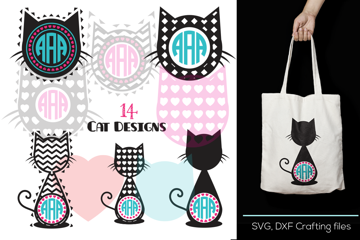Cat Head Monogram Frames Svg Cutting File Cat Desings Svg Dxf