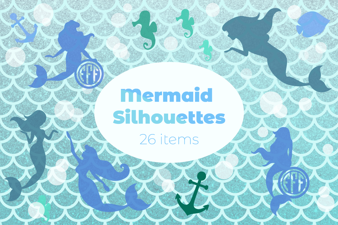 Mermaid Silhouettes And Mermaid Monograms Svg Cut Files Pack By