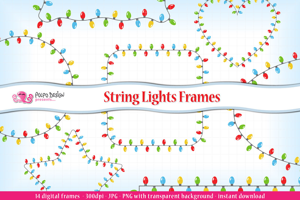String Lights Frames Clipart By Polpo Design Thehungryjpeg Com