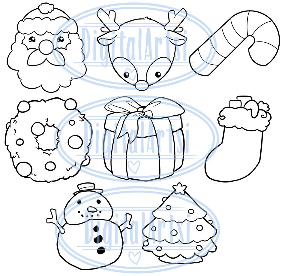 Kawaii Christmas Clipart By Digitalartsi Thehungryjpeg Com