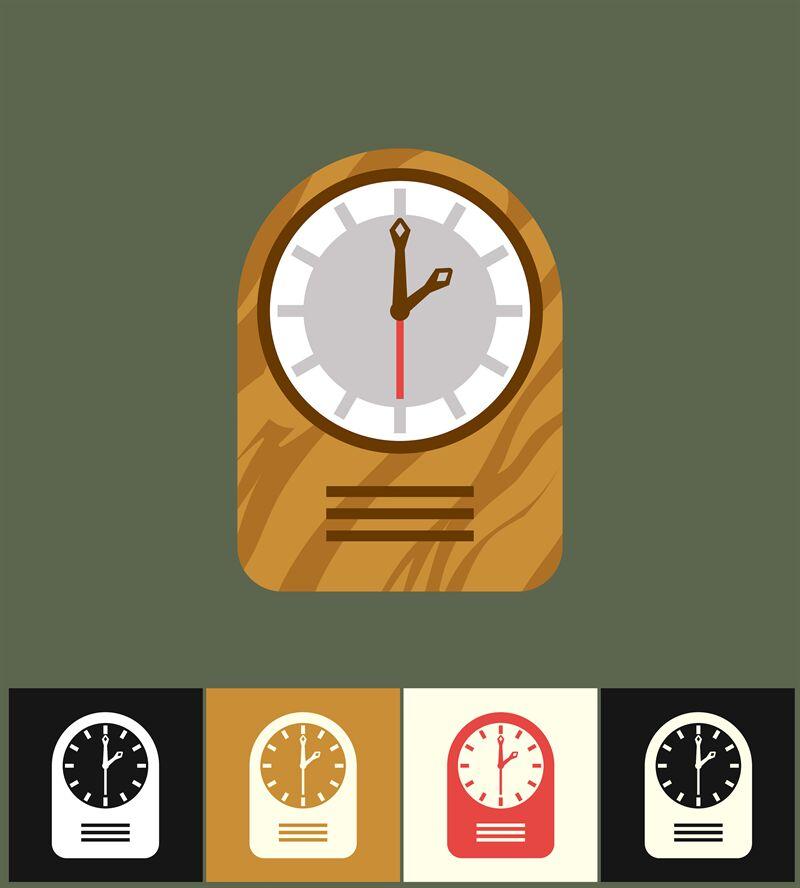 Clock icon  Flat vector illustration  Wood analog clock By