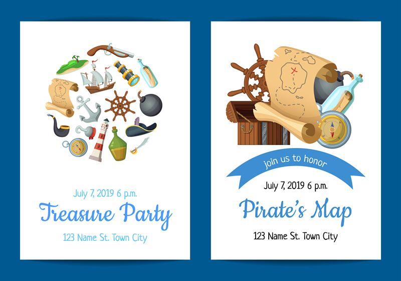 Vector Cartoon Sea Pirates Birthday Party Invitation