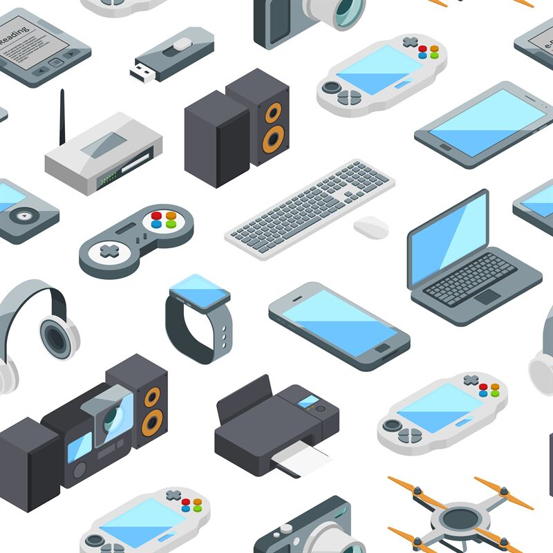 Vector isometric gadgets icons pattern or background ...