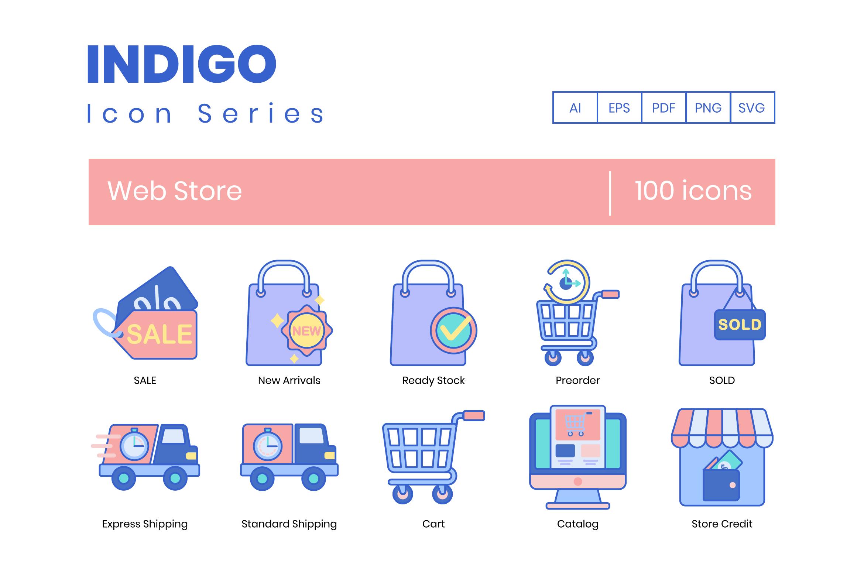 100 Web Store Icons By Flat Icons Thehungryjpeg Com