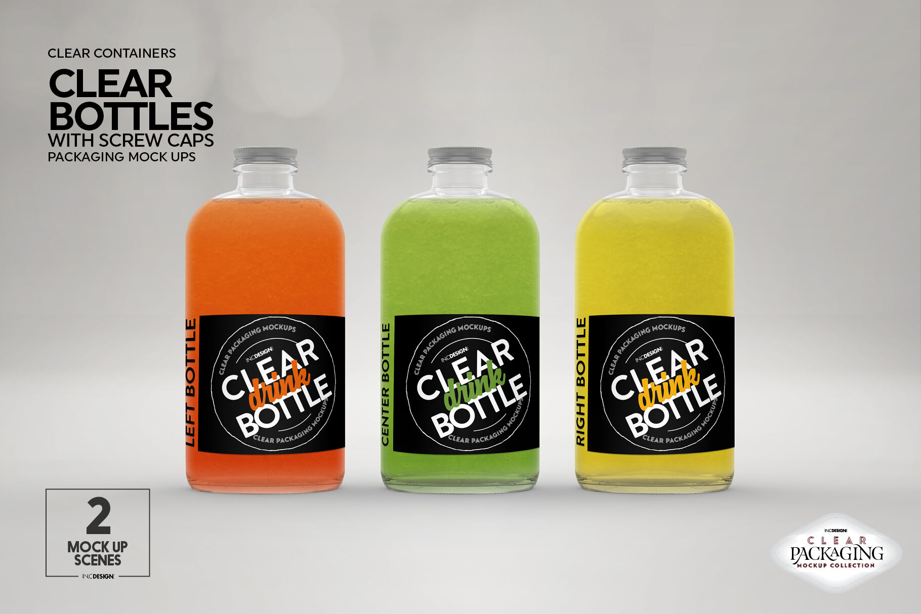 Download Clear Glass Bottle Orange Juice Mockup Yellow Images
