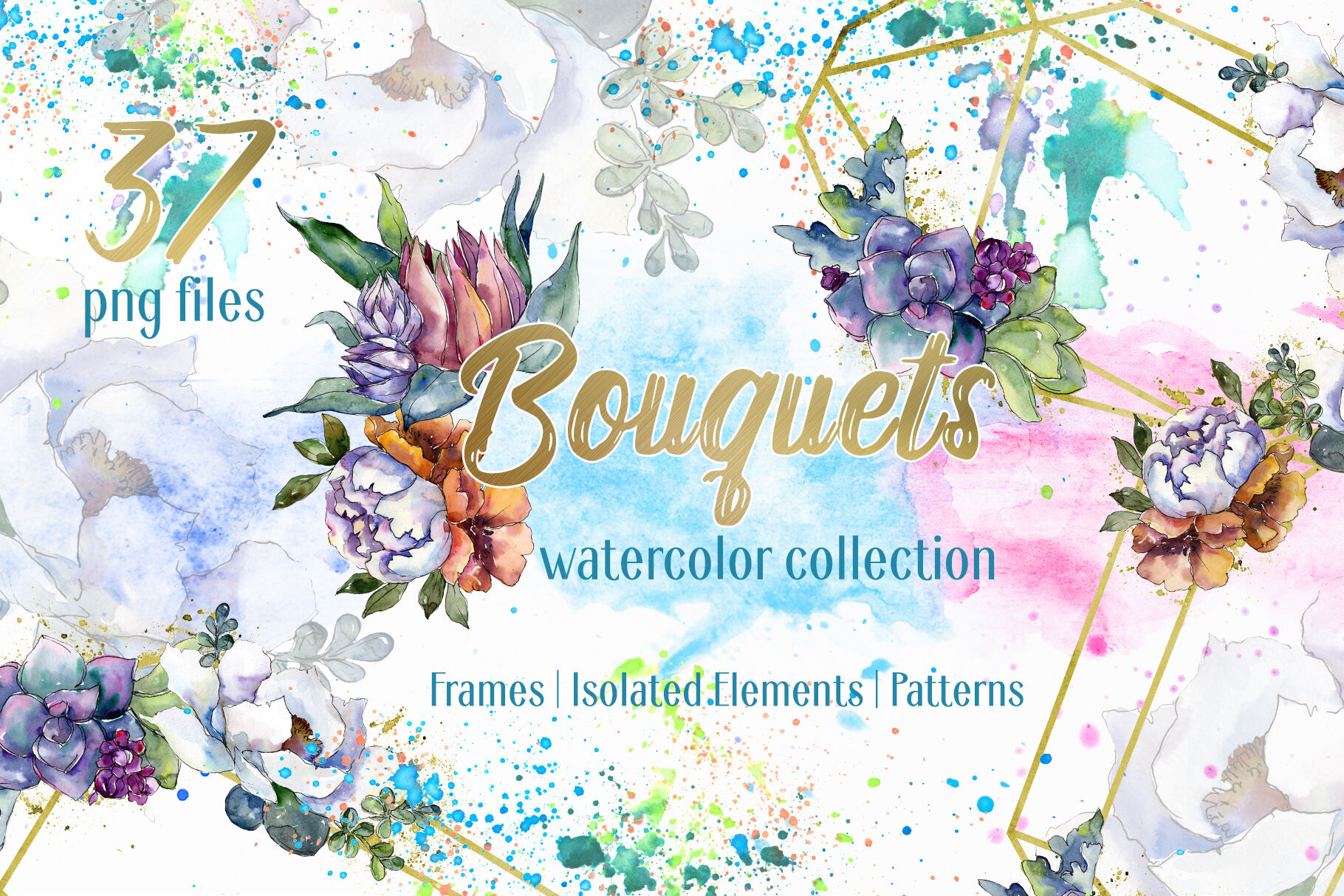 Bouquet Floral Rainbow Watercolor Png By Mystocks Thehungryjpeg Com