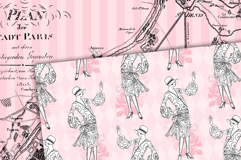 Pink Paris Digital Paper By Digital Curio Thehungryjpeg Com