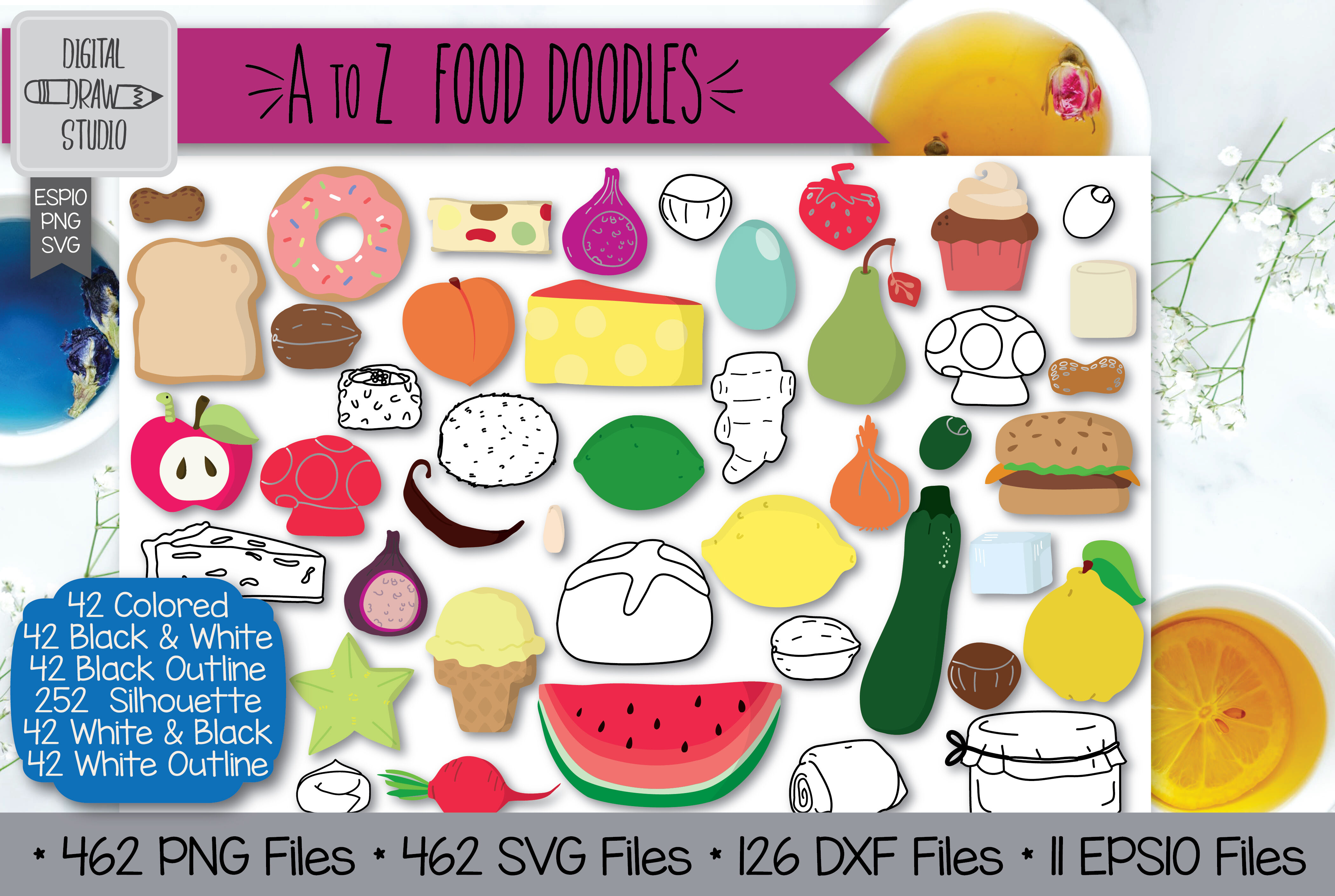 462 A To Z Food Clip Art Hand Drawn Fruit Vegetable Outline