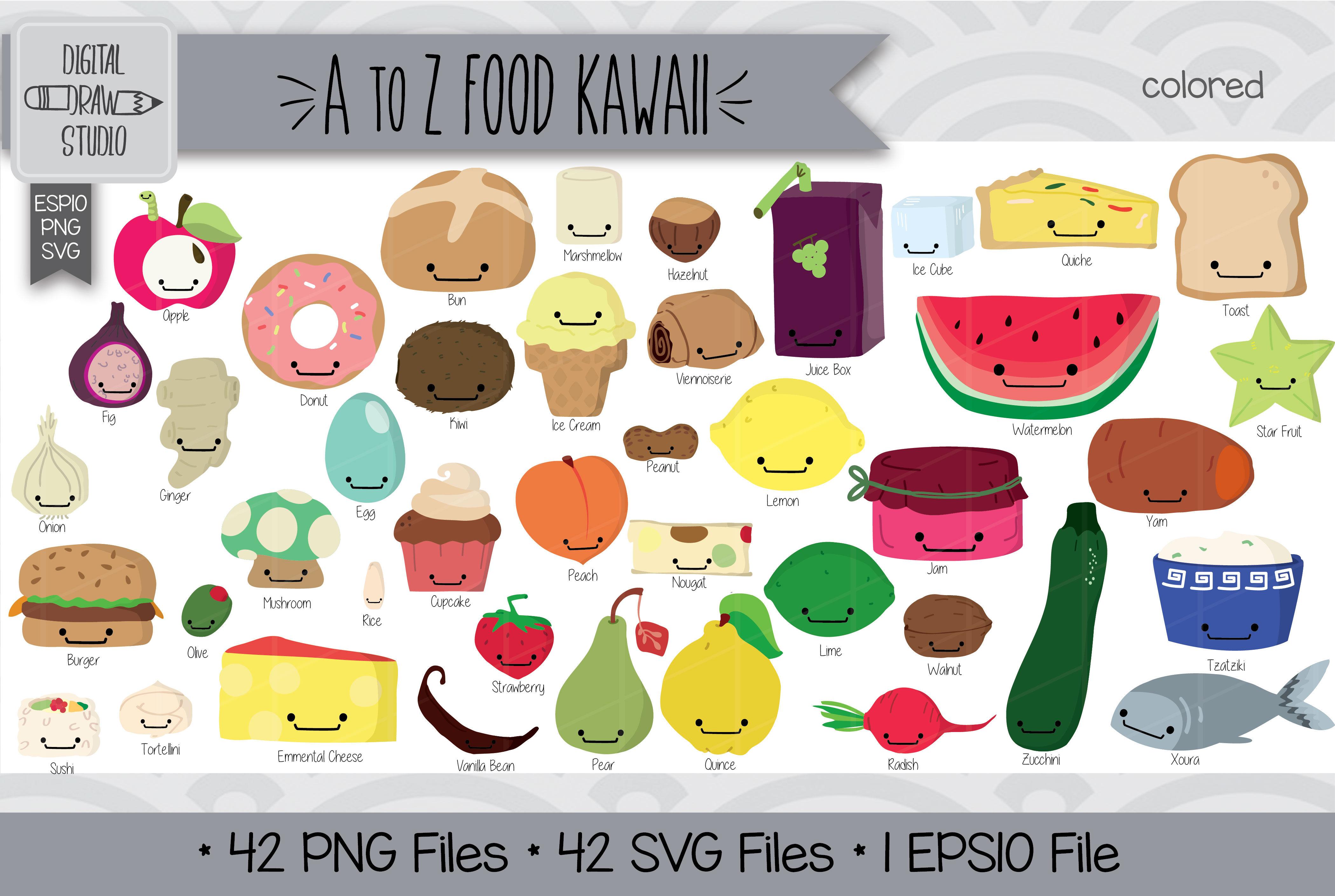 Hand Drawn Cute Fruit Vegetable Illustration Bundle Sweets Savory Vector Graphics 42 Food Kawaii Colored Clip Art Png Eps Pdf Svg