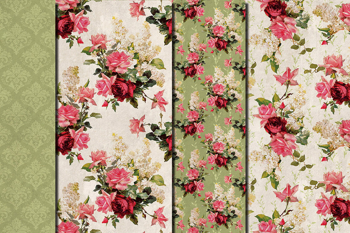 Shabby Chic Pink Roses Hand Drawn Seamless Patterns By Dolly