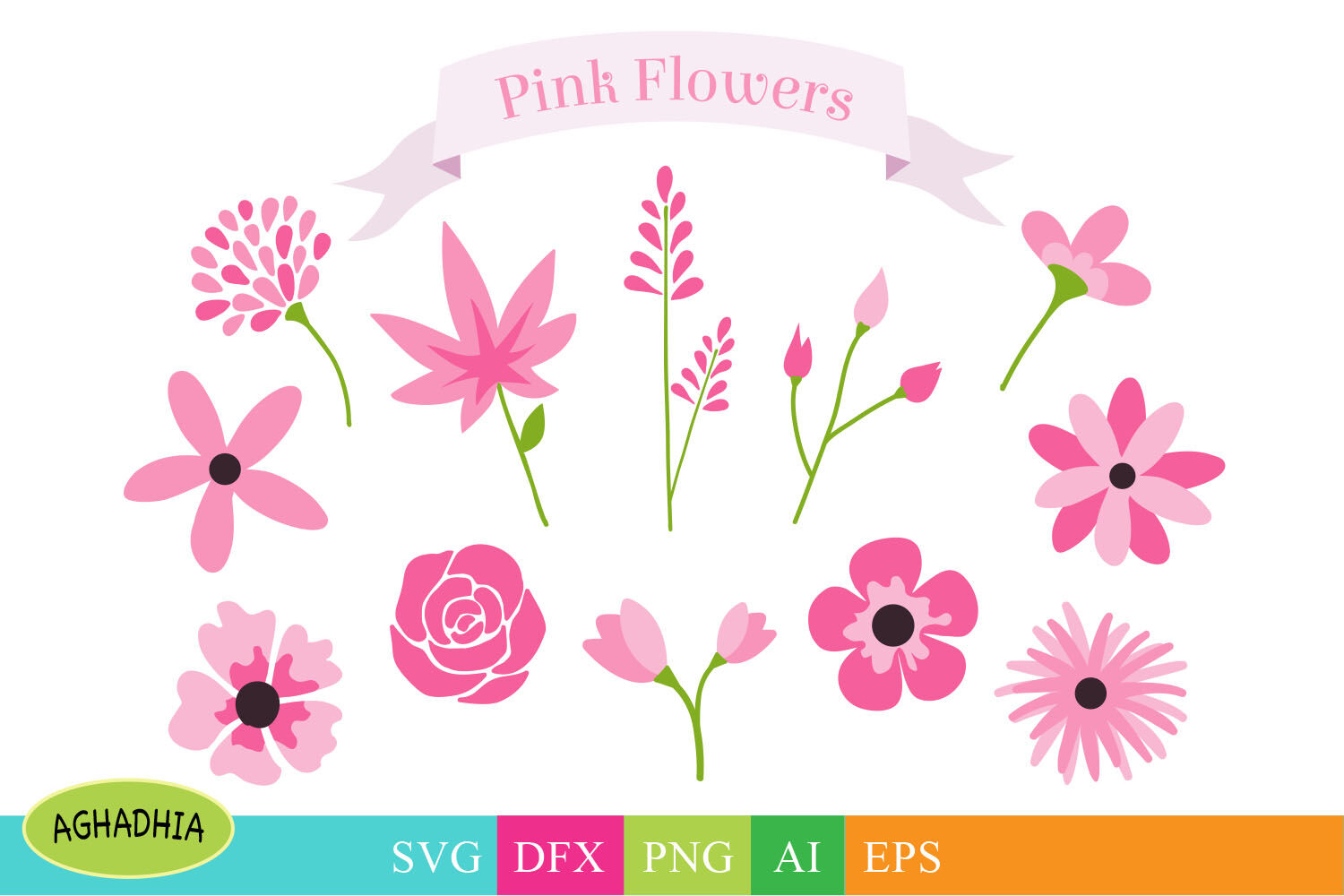 Flowers Svg Flower Bundle Floral Element Svg By Aghadhia