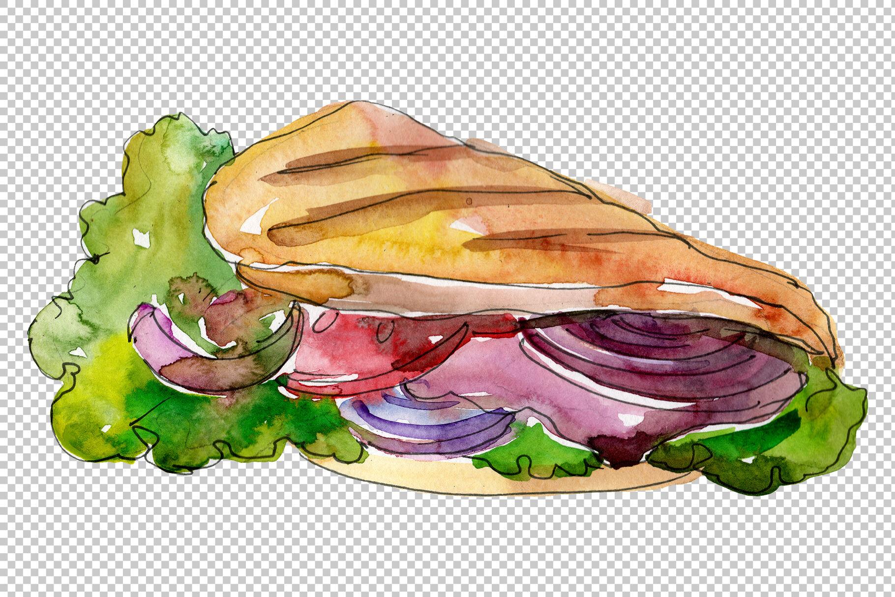 Sandwich Muffuletta Watercolor Png By Mystocks Thehungryjpeg Com