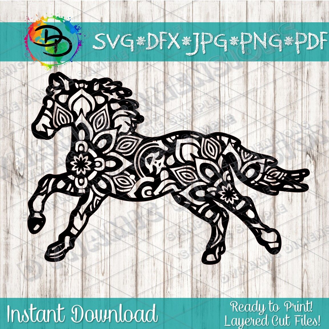 Mandala Svg Horse Svg Zentangle Animal Svg Horse Mandala