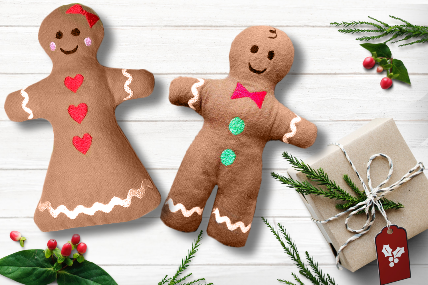 Gingerbread Boy And Girl Plush Toy In The Hoop Ith Set