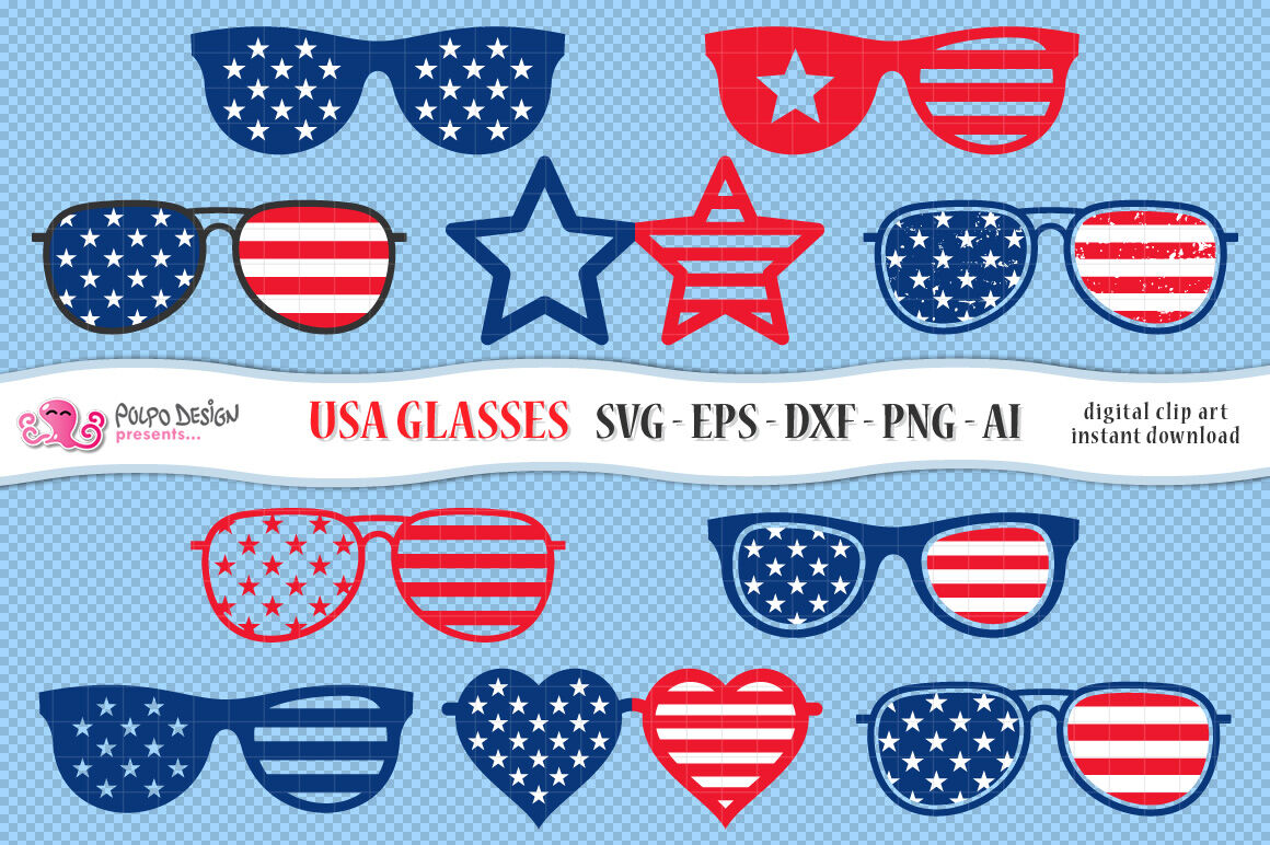 4th Of July Glasses Svg By Polpo Design Thehungryjpeg Com