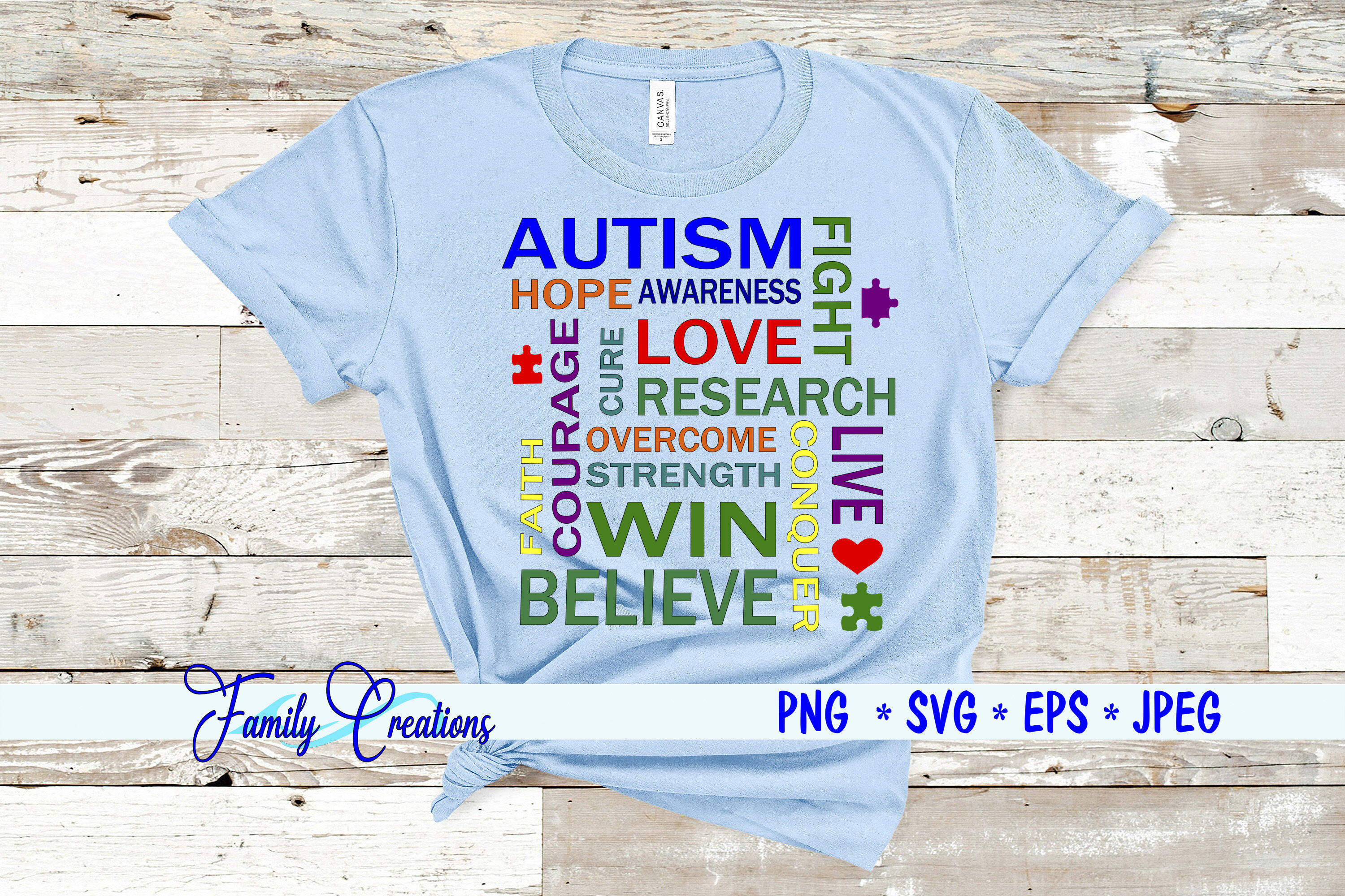 Autism Words By Family Creations Thehungryjpeg Com