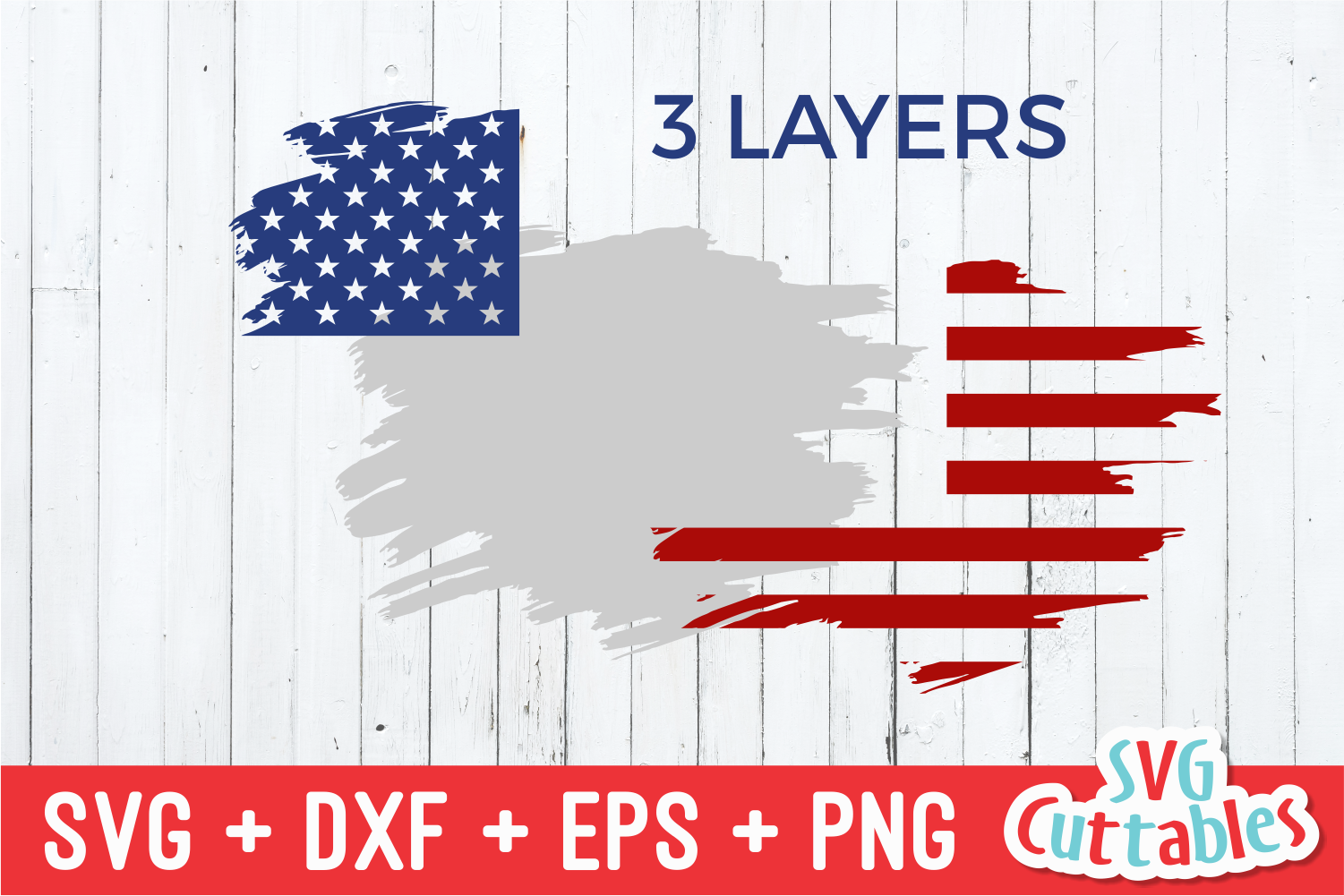 Patriotic Brush Stroke 4th Of July Svg Cut File By Svg