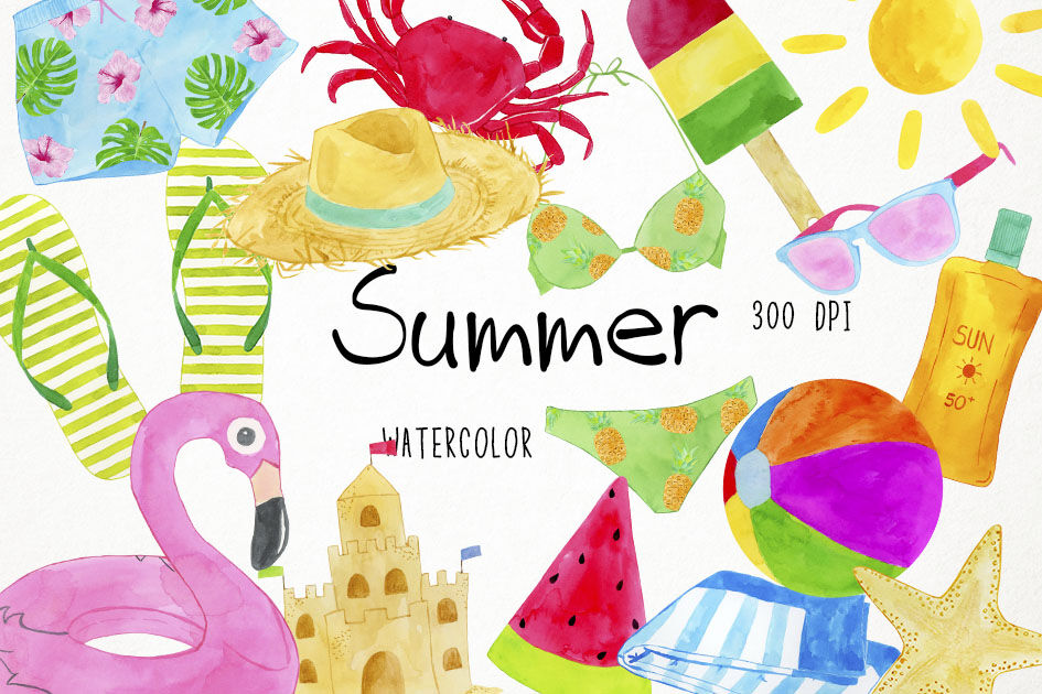 Watercolor beach. Summer clipart clip art