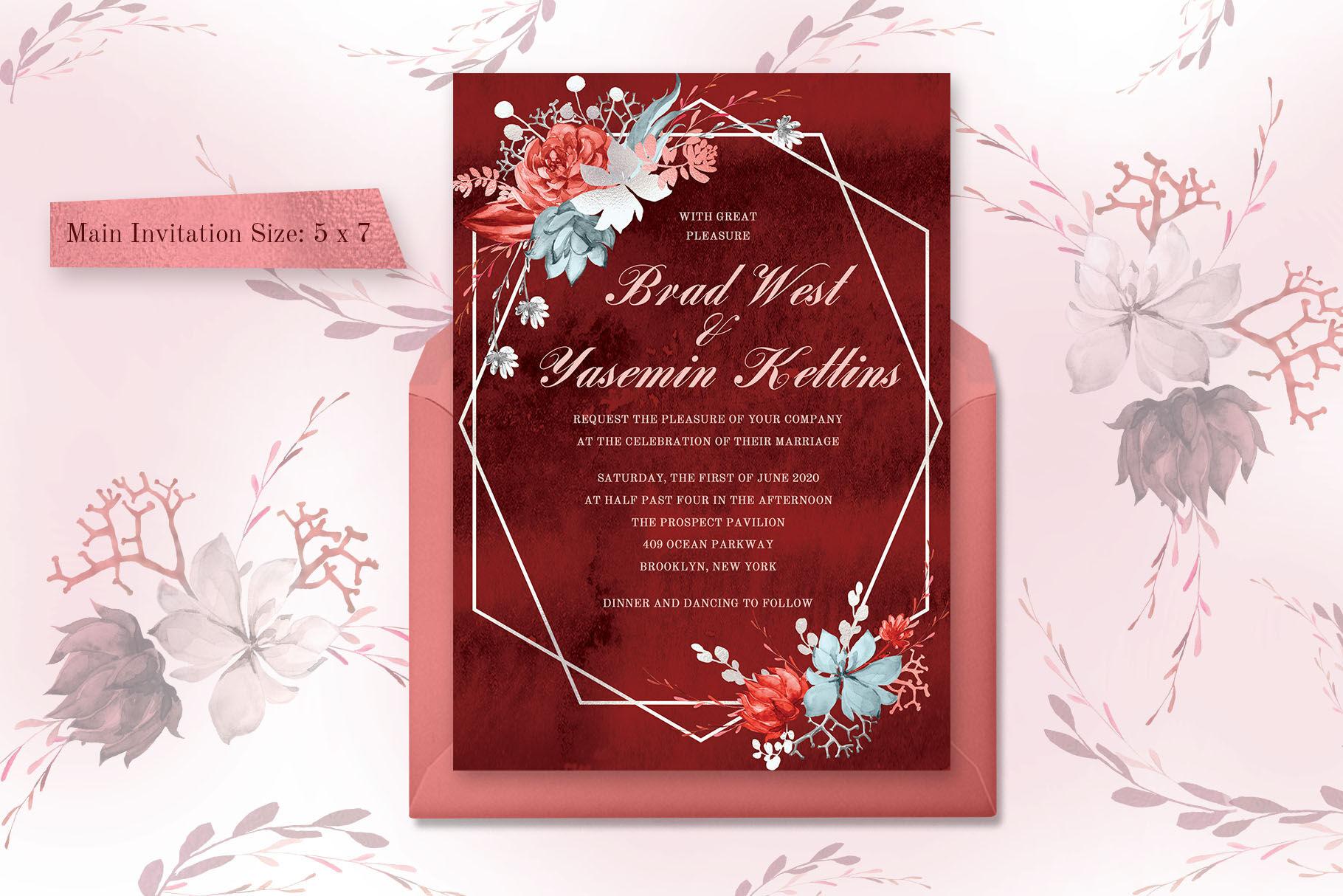 Marsala Watercolor Wedding Suite By Ira Dvilyuk Thehungryjpeg Com