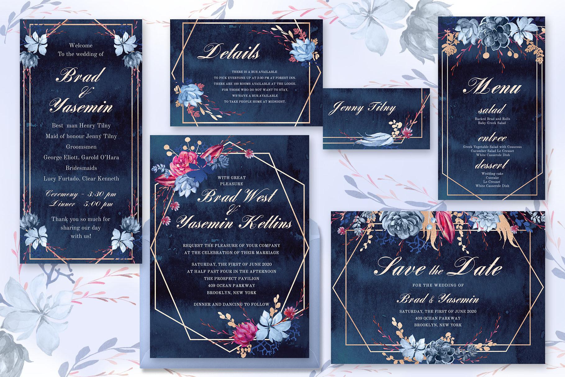 Navy Watercolor Wedding Invitations By Ira Dvilyuk Thehungryjpeg Com