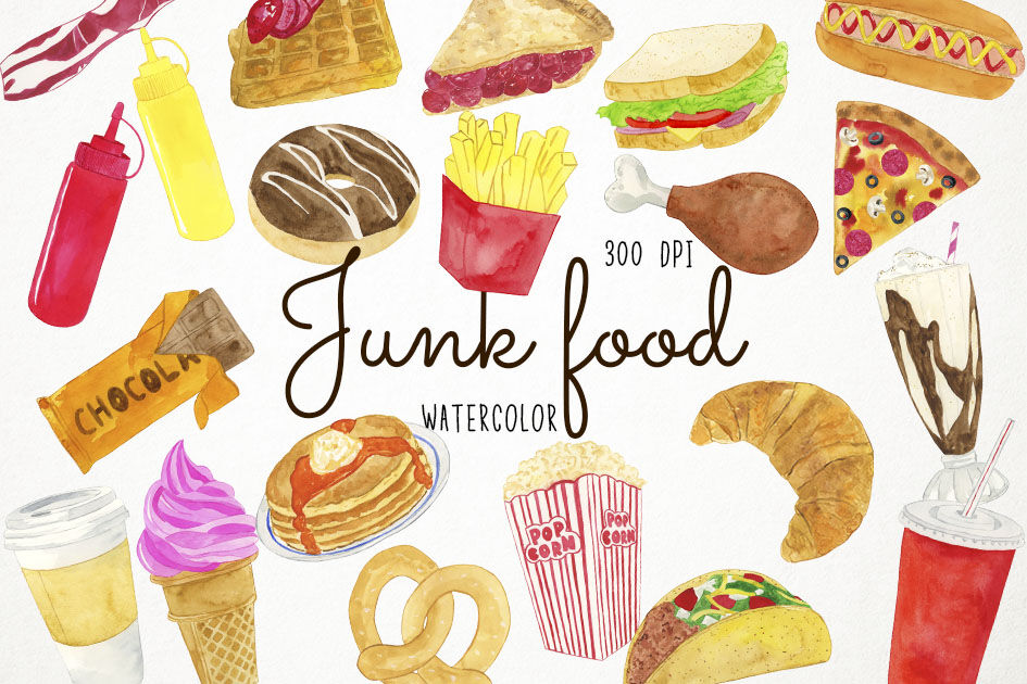 Watercolor Junk Food Clipart Fast Food Clipart Junk Food Clip Art By Paulaparaula Thehungryjpeg Com