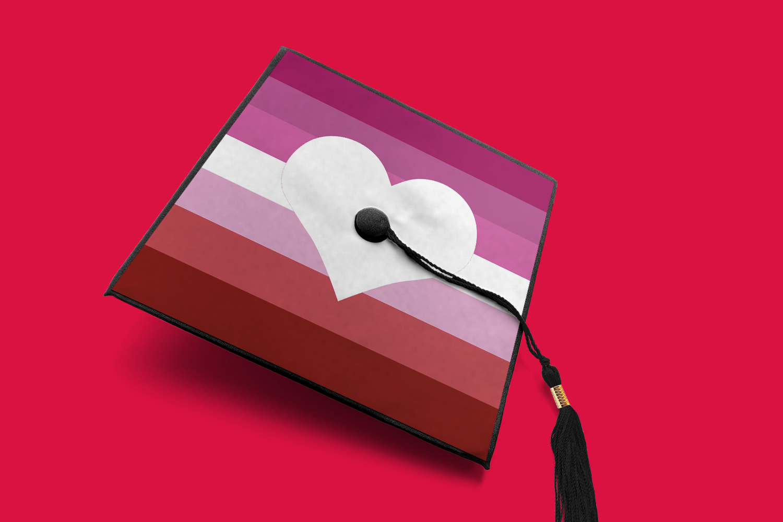 Lgbt Pride Stripes Heart Graduation Cap Decoration Svg Png