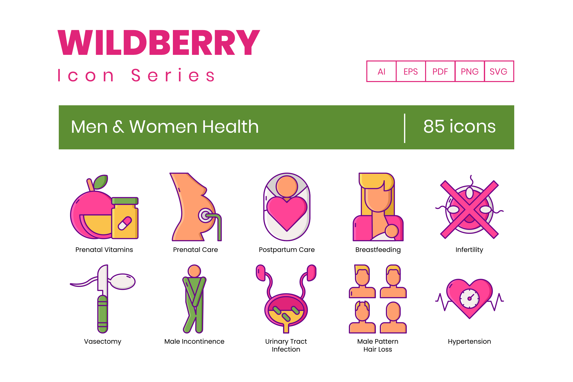 85 Men Women Health Icons By Flat Icons Thehungryjpeg Com