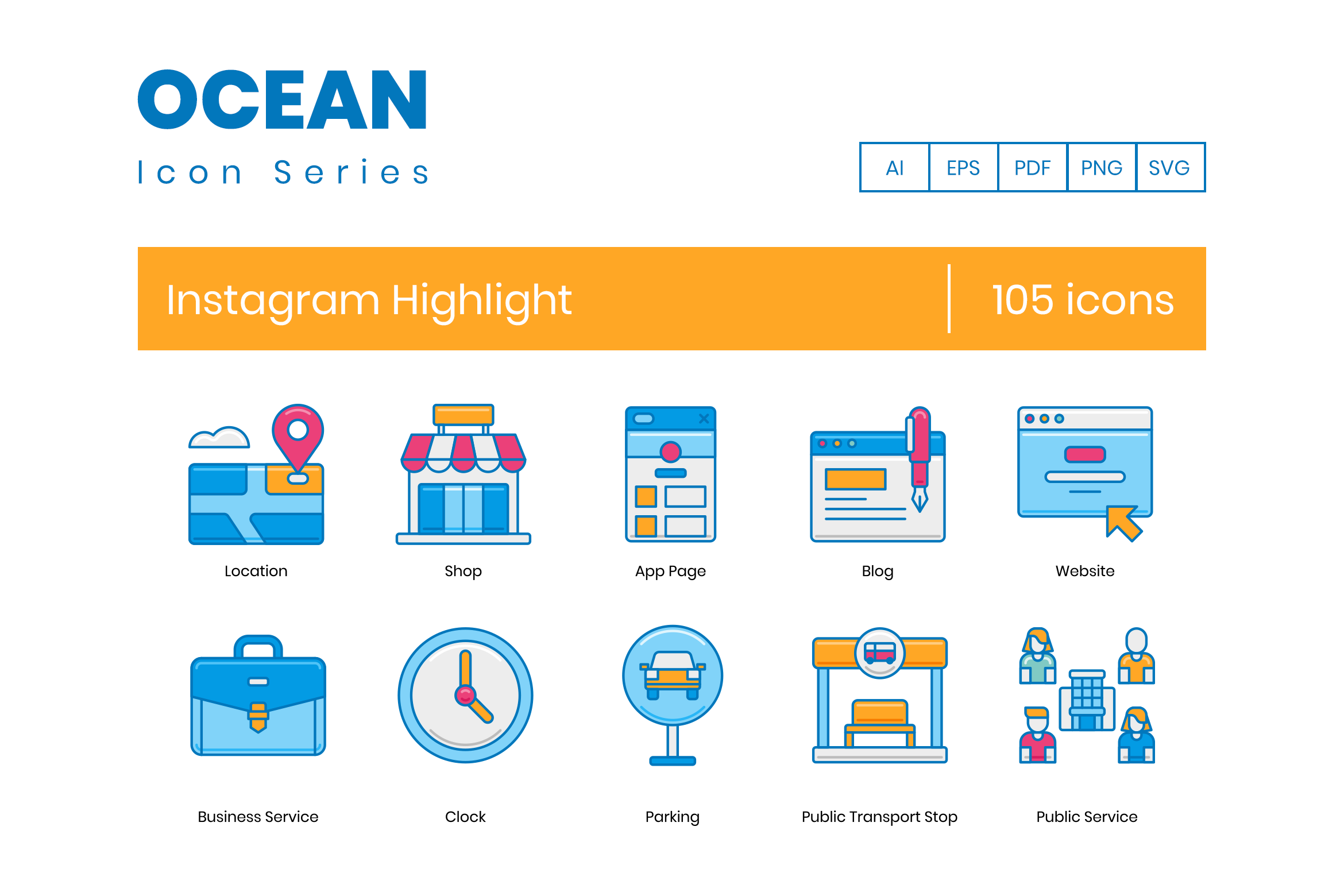 105 Instagram Highlight Icons By Flat Icons Thehungryjpeg Com