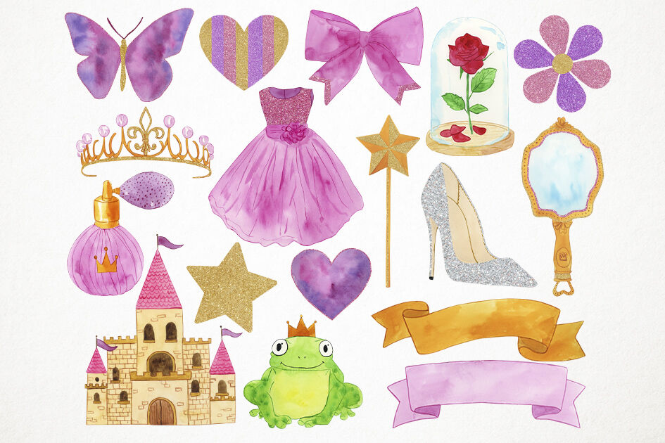 Watercolor Princess Clipart Princess Clip Art By Paulaparaula Thehungryjpeg Com