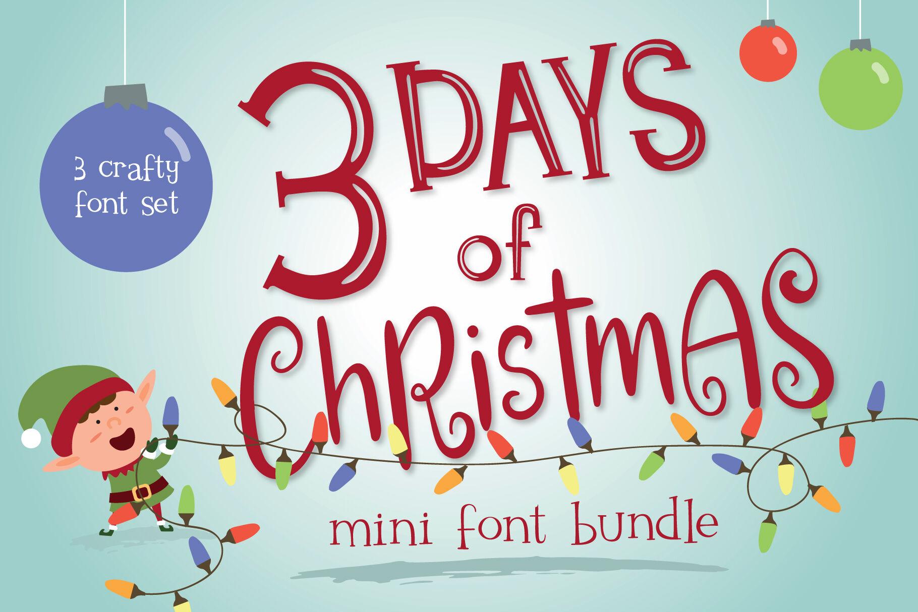 Mini Font Bundle 3 Days Of Christmas By Tuneuwin Thehungryjpeg Com